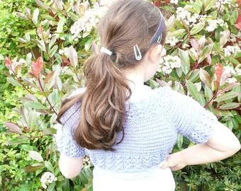 Knitting PATTERN Seamless Top Down BABY Girl SHRUG Cardigan Sweater - Eva an everyday lacy shrug