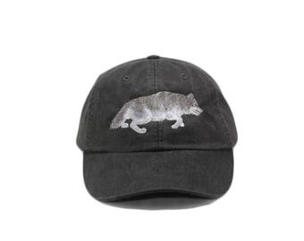 Wolf embroidered hat, baseball cap, gray wolf, grey wolf, stalking timber wolf, wolf lover, gift, dad hat, mom cap, wildlife hat, embroidery