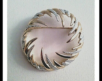 Gold Silver Sarah Coventry Jewelry, Designer Signed  Brooch, Gold Brooch Pin, Abstract Brooch Pin, Silver Brooch Pin, Vintage Brooch Pin,