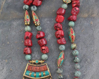 Hand Knotted Nepalese Coral & Turquoise Pendant Bead Artisan Necklace