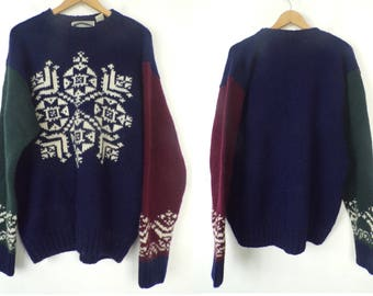 90s Navy Blue & Red Snowflake Sweater Mens Large, Wool Sweater, Winter Sweater, Pullover Sweater, Snowflake Sweater, American Eagle, 90s