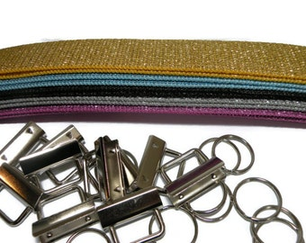 Glitter Key Fob Kit Variety Pack No Sew Cotton Webbing 1.25 inch webbing and hardware 10 sets
