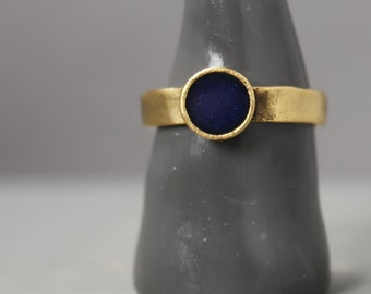 Gold And Navy Ring, Gold Lapis Lazuli  Ring, Lapis Lazuli  Jewelry, Ring, Meditation Jewelry, Pewter Ring, Handmade Ring
