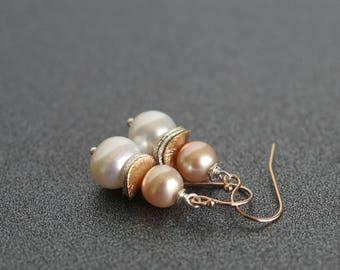 Freshwater pearl drop earrings, pearl dangle earrings, pearl jewelry gift, bridal earrings, Spring earrings, 14k rose gold fill ear wires