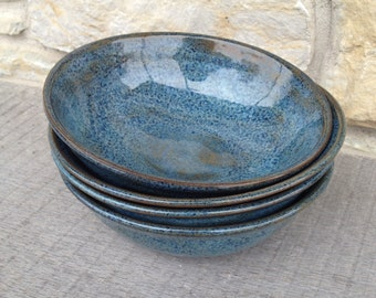 Set of 4 Blue, Wheel thrown stoneware, pottery bowls