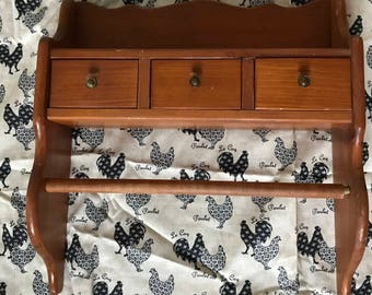Vintage mid century shelf with three drawers and towel bar
