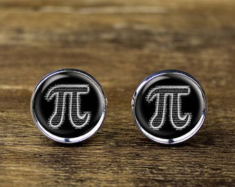 Pi cufflinks, Math cufflinks, Pi jewelry, Pi accessories