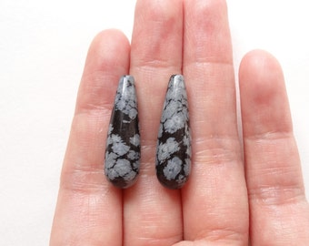 Snowflake Obsidian Half Top drilled Smooth Long Teardrop Briolettes 8x25 mm One Pair L4589 K6473