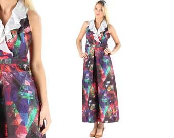 70s Halter Maxi Dress Abstract Geometric Print Dress Vintage Prom Party Dress Backless Halter Dress Ruffle Handmade Tailored Dress . Medium