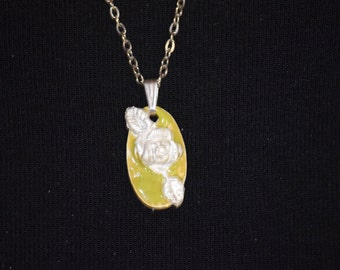 Fine Silver Rose With Lime Green Enamel-With Silver Chain