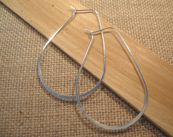 Large Oval Hoop Sterling Silver Plated  Ear Wires - 1 Pair