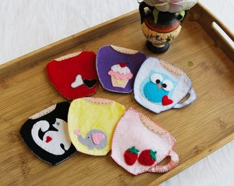 Handmade coasters, Felt coasters, Housewarming, Valentine's decor, Romantic coasters, Kitchen accessories, Furniture protection, Drinkware