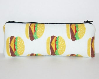 "Padded Pipe Pouch, Cheeseburger Bag, Pipe Case, Pipe Bag, Padded Pouch, Stoner Gift, Munchies Bag, Hamburger Bag, Vape Pen Bag - 7.5"" LARGE"