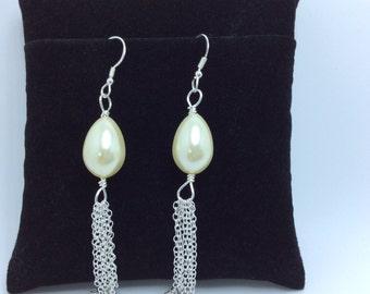 Sterling Silver Earrings, Pearl Silver Earrings, Silver and Sterling Chain Earrings, Glass Pearl Earrings