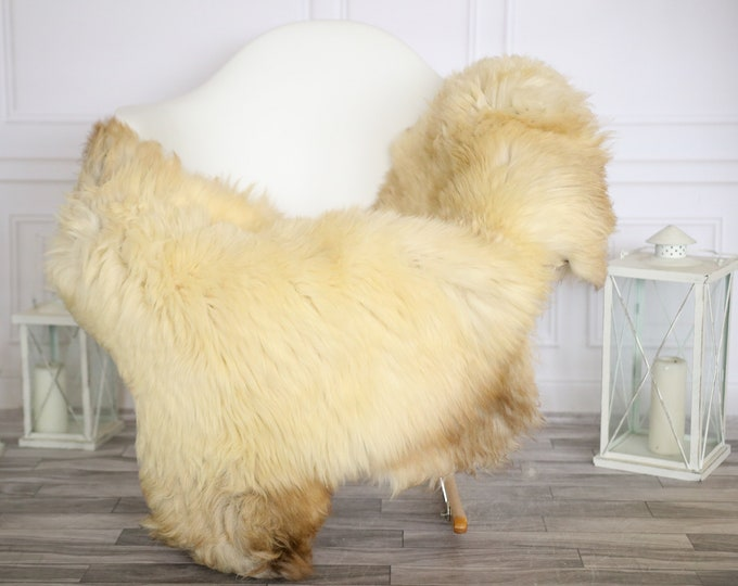 Sheepskin Rug | Real Sheepskin Rug | Shaggy Rug | Chair Cover | Sheepskin Throw |Beige Brown Sheepskin | Home Decor | #HERMAJ40