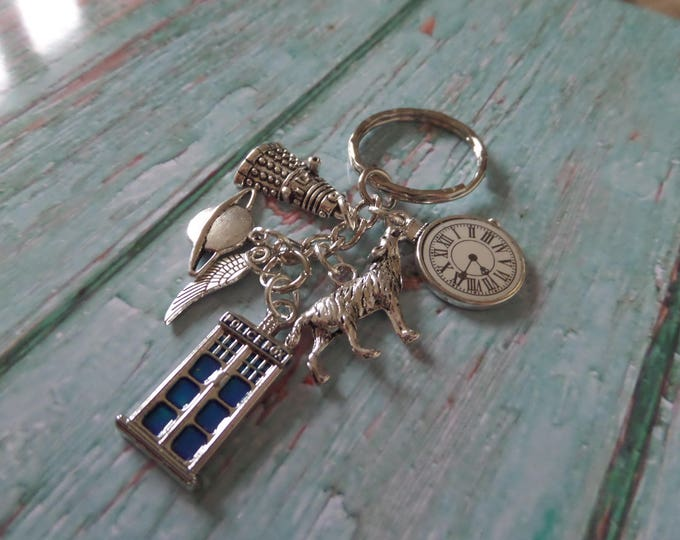 THE DOCTOR Time Lord Seal inspired tibetan silver 6 charm keyring Who Wolf Space fan gift jewellery Uk