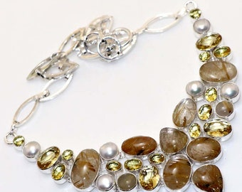 Natural Golden Rutilated  , Pearl , Lemon  Quartz Handmade 925 Silver Plated Cluster Necklace Jewelry B 603