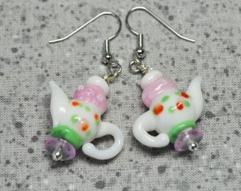 Teapot Lampwork Glass Bead Earrings