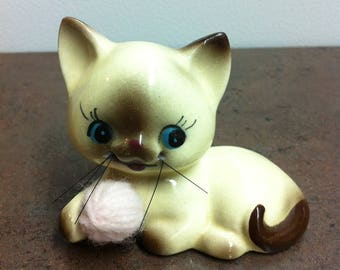 Vintage Cat Figurine - Siamese Kitty - Ceramic Pale Yellow and Brown Whiskered Cat - Gift for the Cat Lovers