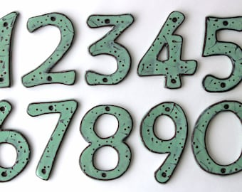 House Numbers Organic - 4 inch, 5 inch or 6 inch Size Pottery Letters or Numbers - Aqua Mist Color - One 1 - MADE TO ORDER