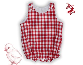 Baby red gingham romper