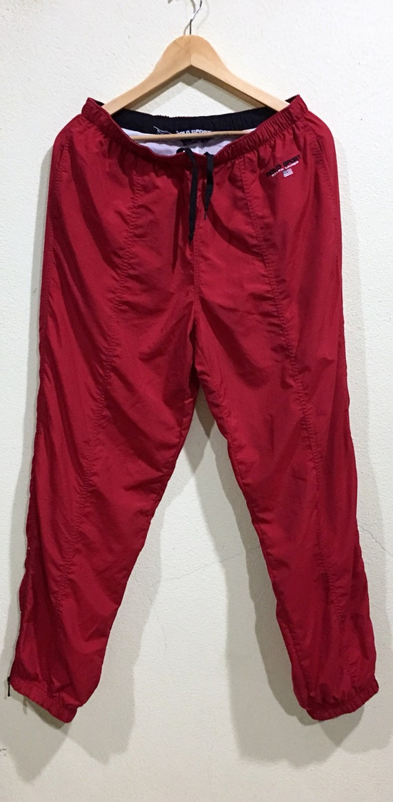 Pants Polo Up Track Double Sportwear Rare Red Embroidery Polo Pocket Sport Vintage Sport Warm Zipper Joggers wtcpxTv