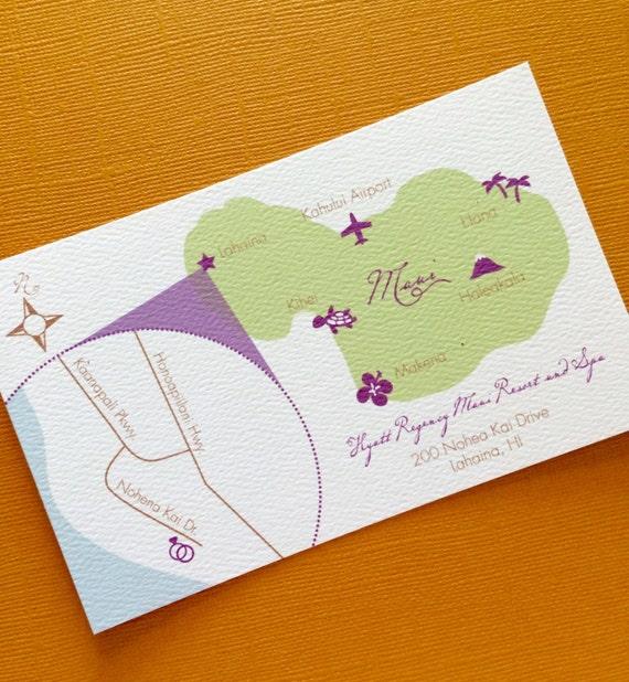 Custom Hawaii Wedding Map Wedding Invitation Map Hawaiian