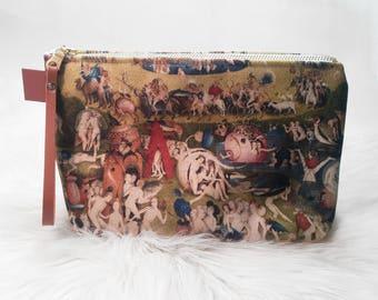 Garden of Earthly Delights Clutch/Makeup Bag - Zip-up Makeup Bag, Hieronymus Bosch, Makeup Bag, Clutch, Renaissance, Art History