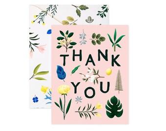 Assorted Botanical Thank You Card - Pink