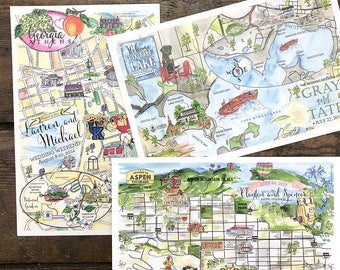 Wedding Map Card, Custom Illustrated Watercolor Wedding Maps, Hand Painted Guest Map, Hand Drawn Custom