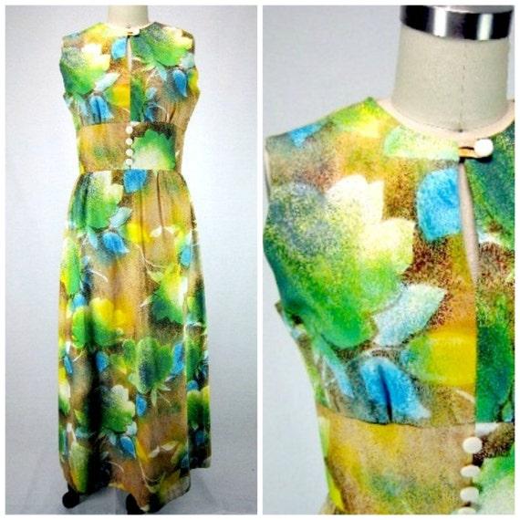 Floral Mod Maxi Dress - Authentic Vintage