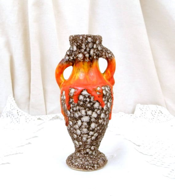 "Vintage French 1960s Vallauris Vase Mid Century Modern Design Fat Lava Orange and Yellow Drip Glaze With ""Ecume de Mer"" Volcanic Glaze"