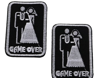Game Over Wedding Marriage Funny Embroidered Iron on Patch Applique GO040118