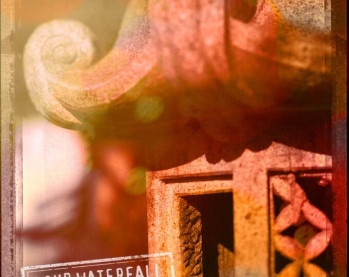 Detail, Lantern, Japanese Tea House, Red Rust Bokeh, 7x9 Fine Art Photograph for Home Wall Art Decor