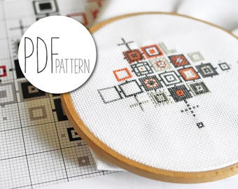 Modern geometric cross stitch pattern, abstract cross stich hand embroidery designs, graphic xstitch xstich crossstich patterns CUBIFIED