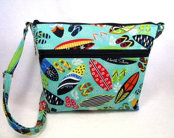 New Size  Handmade Cross Body Fabric Purse / 5 Pockets
