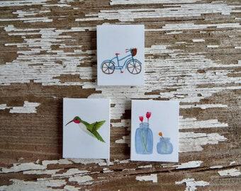 Spring WATERCOLOR Bookmarks. Bicycle bookmark, Hummingbird bookmark, Jar of Tulips bookmark | Watercolor | YoKreye
