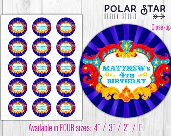 """Vintage Circus / Carnival Themed Custom Cupcake Toppers, Bottle Caps 4"""", 3"""", 2"""" or 1"""" - Personalized Printable Digital File (CDS3)"""
