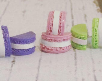 French Macaron | Food Jewelry, Macaroon Jewelry, Food Earrings, Pink, Purple, Green, Earring Sets, Set of 3, Macarons Earring Set