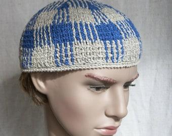Skullcap, grey-blue crochet linen hat for men, linen skull-hat for him, linen blue-grey men's sun hat, flax short men's beanie