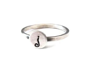 Initial Ring - Monogram Ring - Stacking Initial Ring - Sterling Silver stacking ring