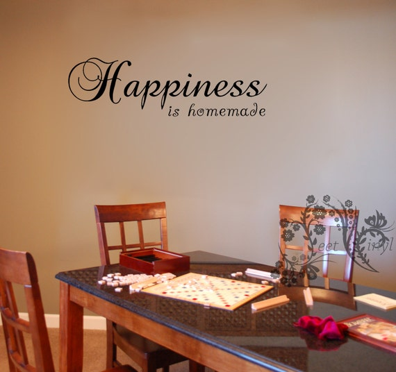 Happiness Is Homemade Home Decor Print Kitchen Quote: Happiness Is Homemade. Wall Decals Wall Vinyl Wall Decor