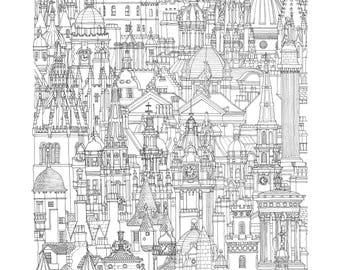 Edinburgh, Scotland. Print   Poster of its architectonic landscape (ink drawing)