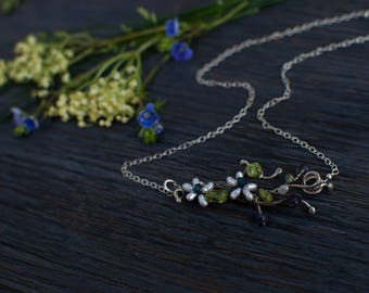 Silver small Twig choker, flower Romantic jewelry, one of a kind choker unique gift for her