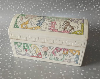 Mexican Jewelry Box, Mexican Trinket Box, Mexican Stash Box, Mexican Gift Box Folk Art, Mexican Bowl Hand Painted, Mexican basket Talavera