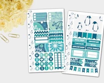 Planner Stickers, Winter Personal Planner Stickers, Penguin Planner Stickers, Weekly Personal Planner Stickers, ECLP 2017 (Jan color scheme)