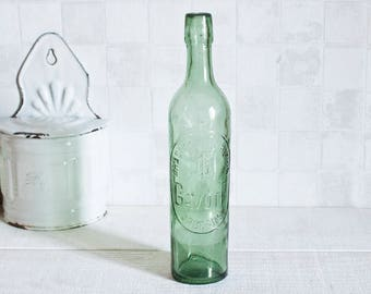 Vintage french Beer green bottle - Original Vintage beer glass bottle - Antique glass beer bottle