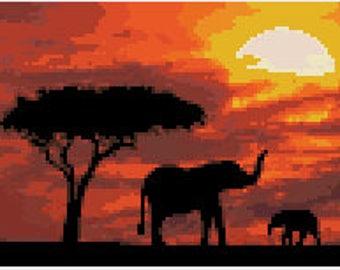 African Sahara Sunset Cross Stitch Pattern, Downloadable PDF