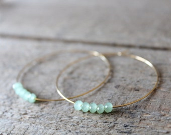 Hoop Earrings, Large Gold Plated Hoops, Gold Hoop Earrings, Beaded Green Jade, Also in Silver, Silver Hoops