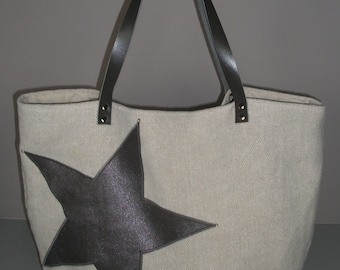 Bag in ecru linen Starry Silver studs